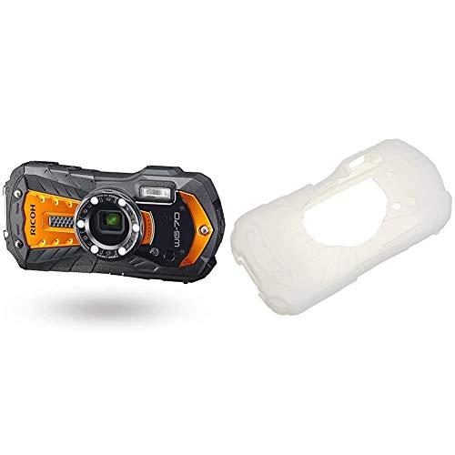 リコー 本格防水デジタルカメラ RICOH WG-70 オレンジ 14m防水 1.6m耐衝撃 防塵 -10℃耐寒 顕微鏡モード 水中専用マーメードモード搭載 仕事に使える「CALSモード」搭載 03871+RICOH PENTAX プロテクタージャケット O-CC1252 WG-50 WG-60 WG-70用 シリコンジャケット 傷防止 39986
