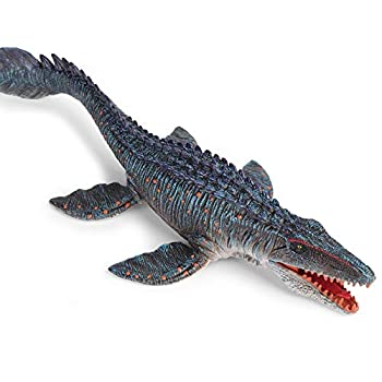 EOIVSH Jurassic World Mosasaurus Toy 13.4  Large Realistic Deep Sea Creature Mosasaurus Dinosaur Plastic Hand-Painted Ocean Animal Model Figurine for Bath Pool Toy Cake Topper Collection