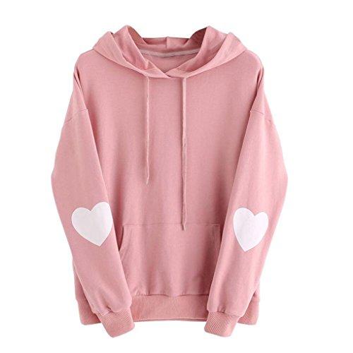 IEason,Womens Long Sleeve Heart Hoodie Sweatshirt Jumper Hooded Pullover Tops Blouse (4XL, Pink)