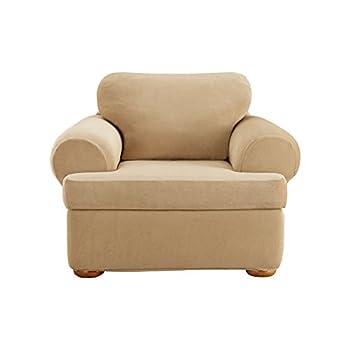 Surefit Pique T-Cushion Chair Cover Stretch Form Fit Polyester/Spandex Machine Washable Three Piece Cream Color