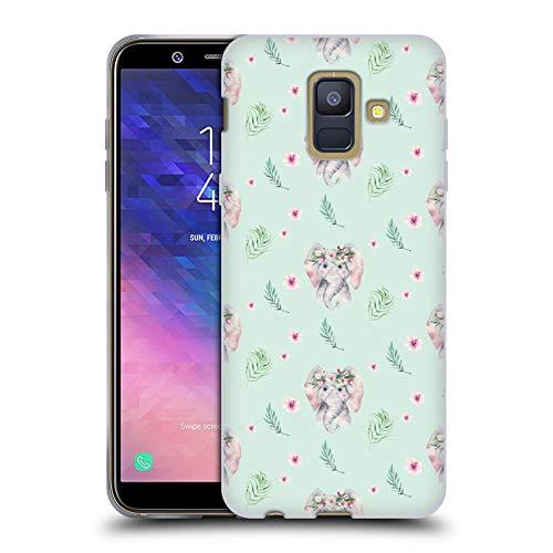 Head Case Designs Offizielle Kristina Kvilis Elefant Muster Suesse Tiere Soft Gel Huelle kompatibel mit Samsung Galaxy A6 (2018)
