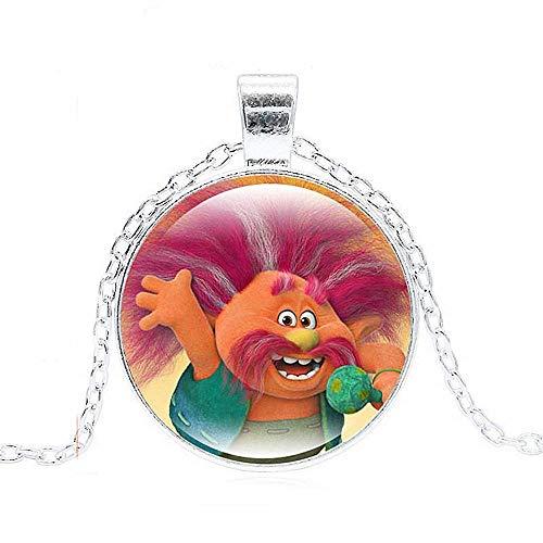 Ketting - afbeelding - trollen - karakters - peppy - tekenfilms - hanger - foto - veelkleurig - zilveren kleur - kinderen - cadeau-idee - verjaardag - kerstmis king peppy