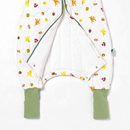 Slumbersac - Sacco nanna con piedini per tutto l'anno, con polsini allungati, 2,5 Tog con maniche rimovibili, animali della foresta, 80 cm, con bottoni a pressione sulle gambe