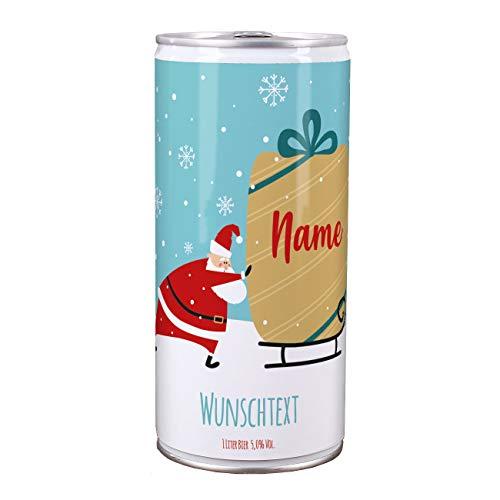 Lustapotheke® Bier zu Weihnachten - Weihnachtsmann mit Schlitten - für alle Bierliebhaber mit Ihrem Wunschtext im Etikett