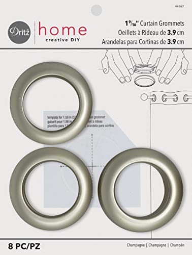 Dritz Home 44367 Round Curtain Grommets, 1-9/16-Inch, Champagne (8-Piece)