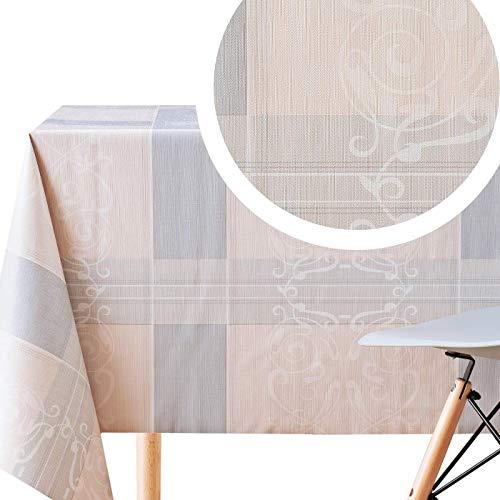 KP Home - Mantel de vinilo clásico de fácil limpieza, Vinilo de PVC., Beige, Gris, 200 x 140cm (79 x 55in)
