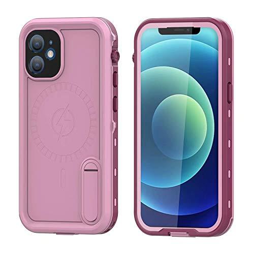 FHZXHY - Custodia impermeabile per iPhone 12, impermeabile, custodia protettiva subacquea, con pellicola protettiva integrata per iPhone 12, 5 g, 6,1', colore: Rosa
