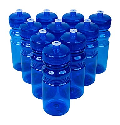 CSBD 20 Oz Sports Water Bottles, 10 Pack, Blank for Customized Branding, No BPA Food Grade Plastic for Fitness, Hiking, Cycling, or Gym Workouts, Made in USA (Blue, 10 Pack)