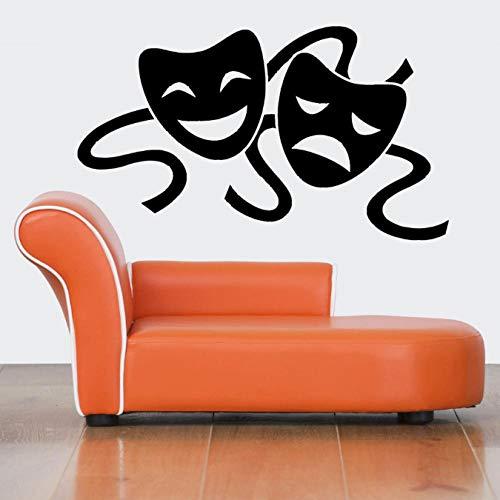 Muursticker kamer stickers muurontwerp maskers theater twee gezichten 57X98Cm