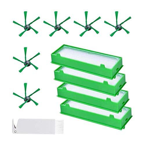 Kit de accesorios piezas de repuesto 6 cepillos laterales y 4 filtros Hepa y 1 kit de accesorios de herramienta de limpieza para Vorwerk Kobold VR200 VR300 de repuesto