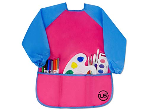 Waterproof Children Art Smock, Ultimate Stationery, Kids Long Sleeve Pink Apron with 3 Big Pockets Great for Painting, Gluing and Messy Crafts