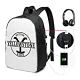 Yellowstone Dutton Ranch Laptop Backpack with USB Charging Port & Headphone Jack, 17-inch
