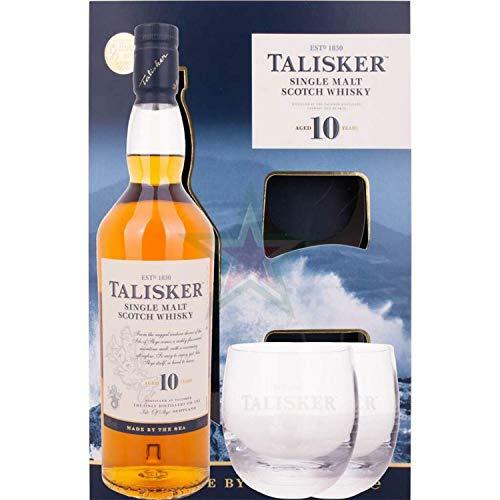 Talisker Single Malt Whisky 10 Jahre, Geschenkpackung mit 2 Gläsern (1 x 0.7 l)
