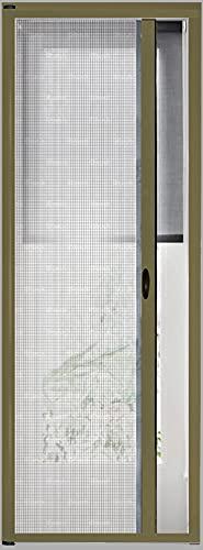 Zanzariera Universale Scorrimento Orizzontale Per Porte Portafinestra Balconi A Rullo Avvolgibile Profilo Riducibile Regolabile Telaio In Alluminio In Kit Fai Da Te Colore Marrone (150 x 250 cm)