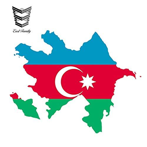 PJYGNK Sticker de Carro 13 cm x 11,2 cm Estilo de Coche Azerbaiyán Mapa Bandera Pegatina de Coche Silueta Casco Coche Puerta de Nevera Accesorios Impermeables