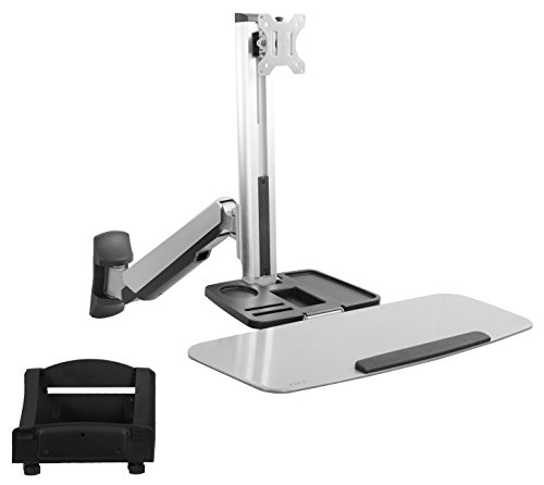VIVO Single Monitor and Keyboard Counterbalance Sit-Stand Wall Mount, Ergonomic Standing Transition Workstation STAND-SIT1W