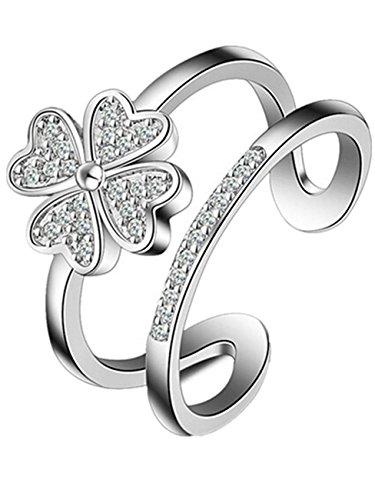 Boowhol - Anello da donna alla moda, in argento fine 925, ipoallergenico, regolabile, doppio anello