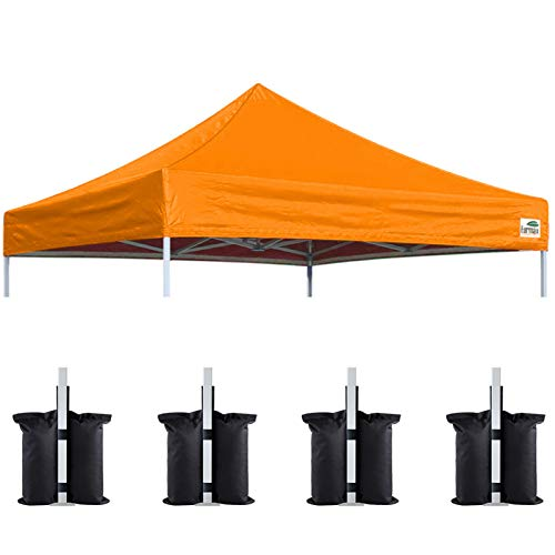 Eurmax New 10x10 Pop Up Canopy Replacement Canopy Tent Top Cover, Instant Ez Canopy Top Cover ONLY, Choose 30 Colors,Bonus 4PC Pack Canopy Weight Bag (Orange)