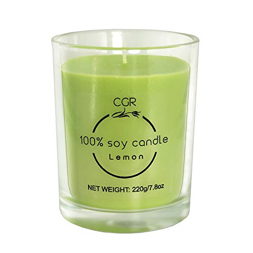 CGR Soy Wax Scented Candle, Lemon, 7.8 Ounces, Long Lasting, Pure Natural