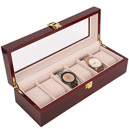 Lv. life Aufbewahrungsbox für Uhren, 6-Gitter-Uhren-Präsentationsbox aus Holz Transparentes Fenster Aufbewahrungsbox für Fensteruhren (rot)