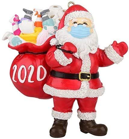 H- BB Adornos navideños 2020, Papá Noel con mascarilla y Bolsa de Regalo, Adornos para árboles de Navidad Decoración Colgante Colgante Regalo Creativo de Navidad