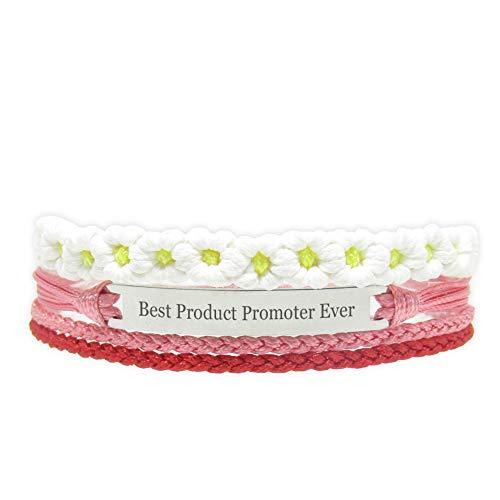 Miiras Trabajo Pulsera Hecha a Mano para Mujer - Best Product Promoter Ever - Wit Rood FL-RE - Hecho de Cuerda Trenzada y Acero Inoxidable - Gift for Product Promoter