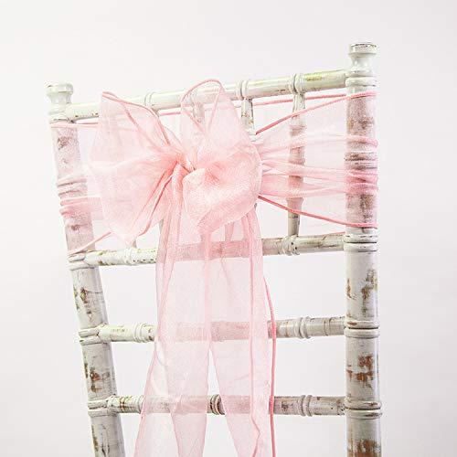 Nœuds de chaise en organza – Décoration de mariage – 80 couleurs et chemins assortis disponibles (rose foncé)