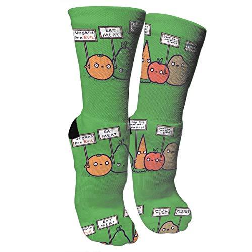 New Protesting Vegans Funny Vegetables Protest Signs Against Vegans Athletic Tube Stockings Women's Men's Classics Knee High Socks Sport Long Sock One Size