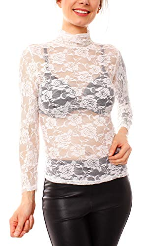 Easy Young Fashion Damen Langarmshirt Spitze Transparent Netz Unterhemd Skiny Spitzenshirt mit Blumen Muster (One Size, Stehkragen Creme)