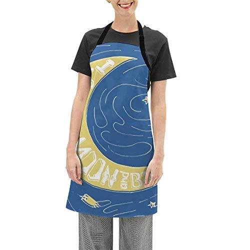 N\A Schürzen verstellbare Lätzchenschürze Kochküche, Crescent Moon Maze mit Kometensternen wirbelt Valentinstag-Feierdruck, für Frauen Männer Chef