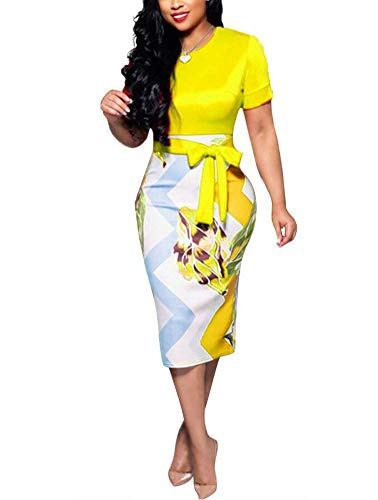 Women' Short Sleeve Bodycon Dress -Cute Bowknot Floral Pencil Dress X-Large Yellow
