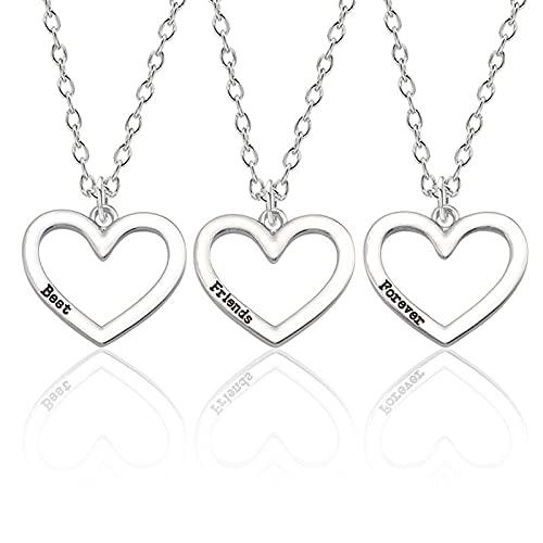DGSDFGAH Collar De Mujer 3 Collares De La Amistad Mejor Amigo para Siempre Collar De Las Mujeres 3 Collar De Corazón Hueco Colgante BFF Joyería De La Amistad