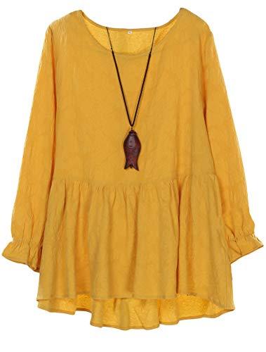 Mallimoda Damen Tunika Kleid Langarm Freizeit Oberteil Rundhals Lange Shirts Bluse Top (L, Gelb)
