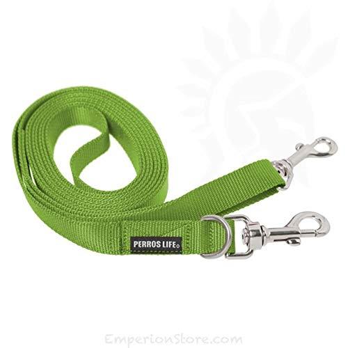 PERROS LIFE Guinzaglio 3 Metri con Doppio moschettone 15mm Cane Taglia Piccola (Verde)