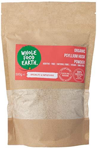 Wholefood Earth - Organic Psyllium Husk Powder - GMO Free - Vegan - Raw - Additive-Free - Natural Fiber - 500g