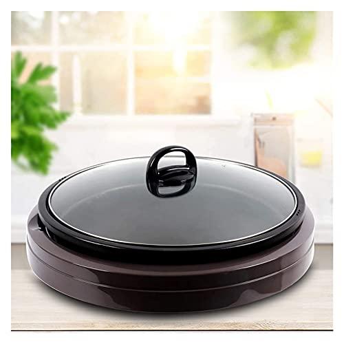 Home No-Stick Hot Hot Pot, Máquina de cocción Ajustabl, Cocina eléctrica Profesional multifunción con Tapa de Vidrio, Sartén eléctrica No Stick con Tapa, Pan para Hornear eléctrico portátil, fácil de
