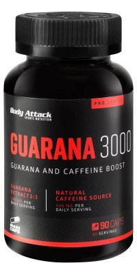 Body Attack Guarana 3000 Kapseln - hochdosiert 3000mg Gurana Extrakt - 300mg Koffein - Maxi Caps (1 x 90 Kapseln)