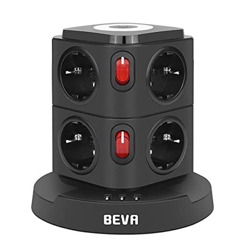 BEVA Regleta Enchufe Vertical de 8 Tomas Corrientes y 3 Rápida USB Tomas, Enchufe Multiple con Luz de Noche, Regleta con Interruptor y protección, Cable de 2M, 2500W/10A