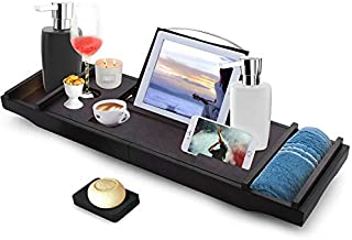 Himimi Expandable Bamboo Bathtub Caddy - Adjustable Wooden Serving Tray and Organizer for Any Size Bathtub - Phone and Tablet Compartments -Wine Holder Bathtub Tray