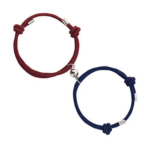 BUREI Pulseras de Pareja para Hombres y Mujeres Estilo Colgante magnético Ajustable Rojo Vino y Azul Marino Cuerda de Cera Pulsera Regalos de joyería