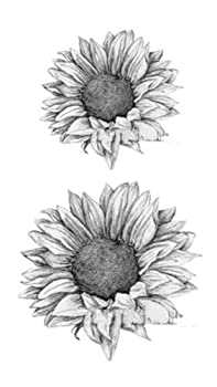 SanerLian Set of 5 Waterproof Temporary Fake Tattoo Stickers 3D Grey Sunflowers Vintage  SF3525