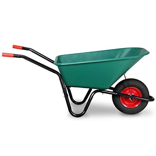 Monzana® Schubkarre 100 Liter Bauschubkarre Gartenschubkarre bis 150kg Belastbarkeit Luftreifen stabile Ausführung mit Kunstoffwanne - 6