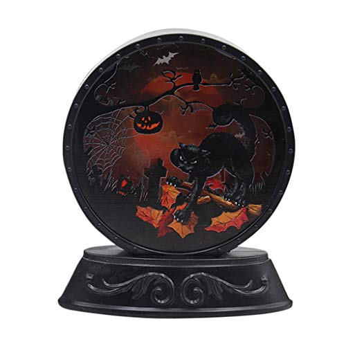 Halloween Table Decorations Indoor Light up Pumpkin Cat Witch Skeleton Pattern Ornaments 3 Modes Lights Battery Powered Night Lamp Bar Restaurant Home Halloween Indoor Decorations Best Gift