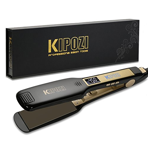KIPOZI Professional Titanium Flat Iron Hair Straightener with Digital LCD Display, Dual Voltage,...