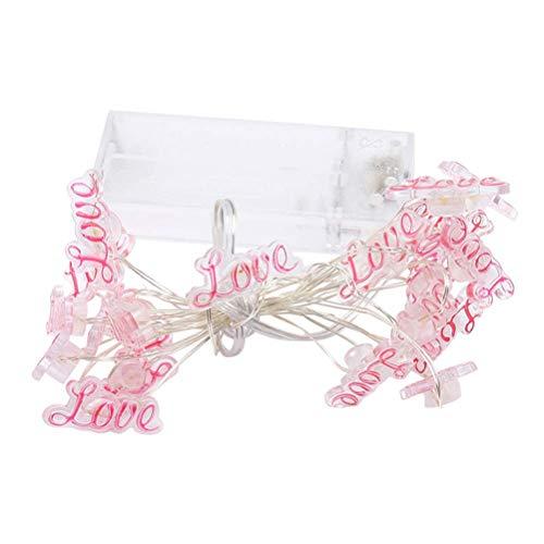 WYDM 20 LED Cadena de luz de Hadas Romántica Rosa Amor Cadena de Luces Encantadora Cadena de Alambre de Cobre Luz para Boda Fiesta Dormitorio Cumpleaños