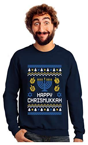Tstars Happy Chrismukkah Xmas Hanukkah Ugly Christmas Sweatshirt Medium Navy