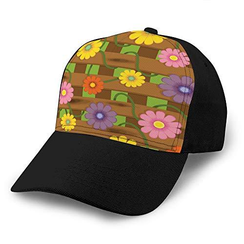 jiilwkie 605 Vintage Trenddruck Cowboyhut Mode Baseballmütze für Männer und Frauen Zaun mit Blumen Golf Hüte