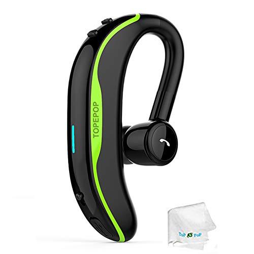 Bluetooth Earpiece Wireless Headphone Handsfree Call Headset Noise Cancelling Earbud Long Talk Time Earphone Compatible with Smart Cell Phones Car Driver Trucker Business Office Men Women (Green)