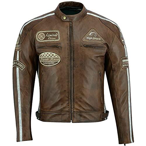 BOSmoto Herren Retro Biker Lederjacke Motorrad Jacke Race Streifen Rockerjacke Chopper, M