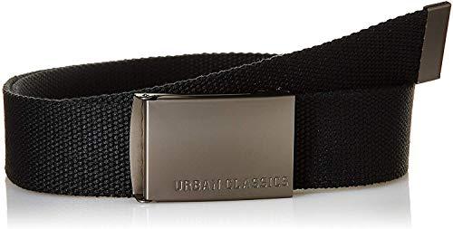 Urban Classics Belt Canvas Unisex, Hombre y Mujer, Correa de Tela, Cinturón de Cuerda sin Agujeros, con Logo en la Hebilla Cuadrada, Negro, Talla Única